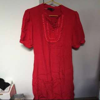Size Small BNWOT Ladakh Red Silk Dress With Slip And Tie Around The Waist