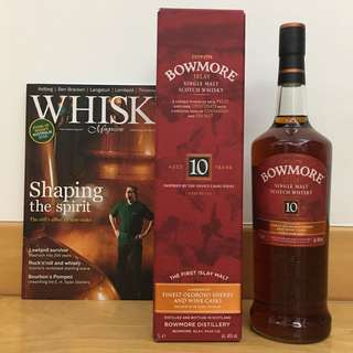🛍$1088 Combo🛍 Whisky Magazine + Bowmore 10 Year Whisky 1L