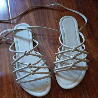 nude sandals brand new lace up tie up