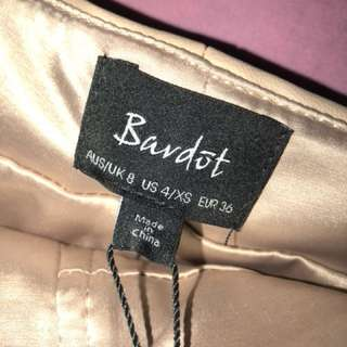 Bardot leather zip up skirt in nude