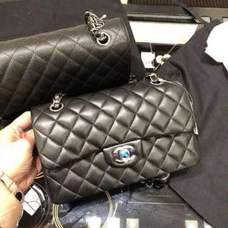Chanel Classic Flap small size 黑色 羊皮 銀扣