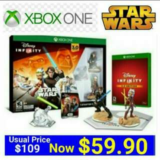 [Brand New] XBOX ONE  DISNEY INFINITY 3.0 STAR WARS STARTER PACK  (Region Free - Suitable for NTSC-J/NTSC) Usual Price: $109.90 Special Price; $59.90 +  Free Mail Postage (Brand New in box & Sealed). Whatsapp.85992490 to collect from any mrt stn in town.