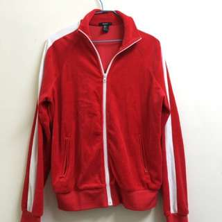 全新forever21紅色白線絨面運動外套