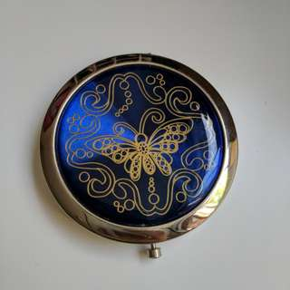 Compact Mirror with Royal Blue Butterfly Design. Pocket Size
