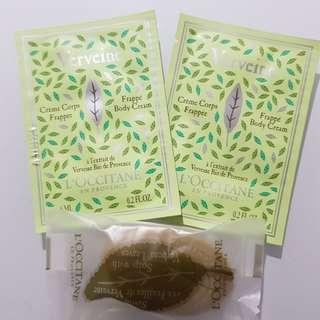 Loccitane Verveine body cream & leaf soap