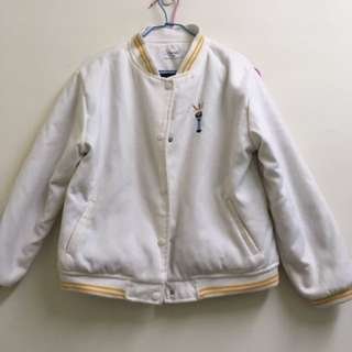 行星planet白色厚鋪棉刺繡圖案可愛棒球外套