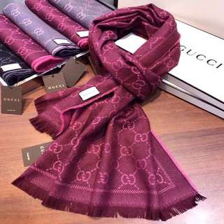 Authenthic Burgundy Gucci logo print shawl