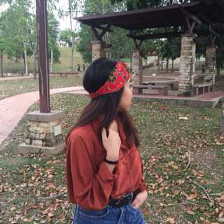 Red batik headband