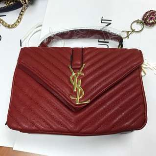 YSL RED COLOUR HAND BAG/ DETACHABLE SLING BAG