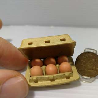 Dollhouse miniature : A Box of removable eggs