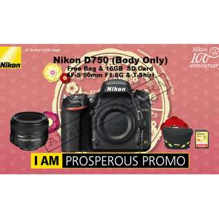 NEW NIKON D750 Body FREE 50mm F1.8G + 16GB Card + Bag [Prosperous Promo]