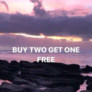 Buy two get one free