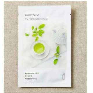 Brand new innisfree my real squeeze mask GREEN TEA