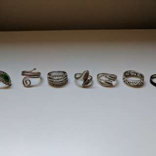 Various Costume Rings Jewellery - Mostly Silver