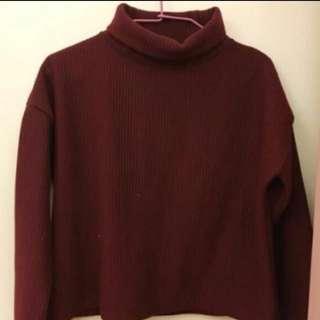 酒紅❤️高領 燈芯絨 毛衣 針織 保暖 厚
