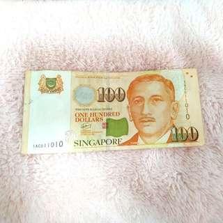 SG Dollar 100 Notes (1AC011010)