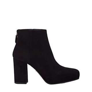 Authentic Prada Black Suede Booties