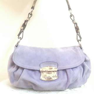 Authentic PRada Purple Suede+Lizard Shoulder bag@Nice 🌷🍄🍄🍑🍒