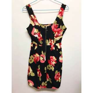 Floral front zipped dress