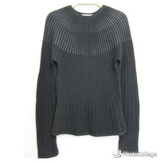 放射線條長袖羊毛衫