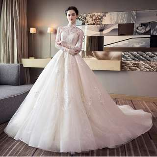 Wedding Collection - Long Lace Sleeves Mid Length Tail Wedding Gown