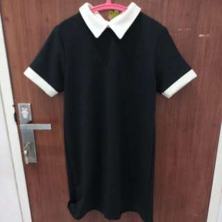 DRESS WITH SHIRT COLLAR BLACK