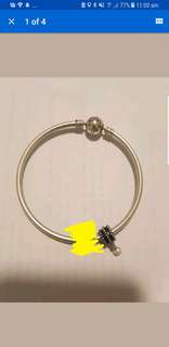 PANDORA black and silver with white hanging perl charm