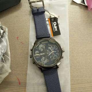 全新藍色皮帶錶watch
