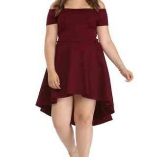 Plus Size Offshoulder Long Back Dress