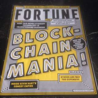 FORTUNE Magazine: featuring Blockchain (how this revolutionary technology is transforming business) plus How the Bitcoin boom triggered a crime spree; also featuring 40 under 40 : innovators who rule the world