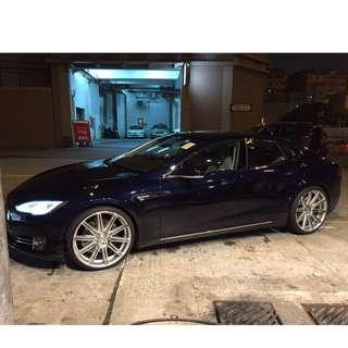 """TESLA Model S 22"""" Vossen CV4 wheels set with 98% new Tyres 胎鈴一套"""