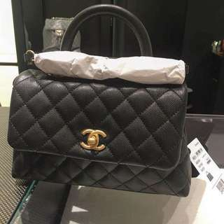 Chanel coco handle 24cm small size 黑牛皮金鍊