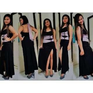 Black Evening Dress with shades of light purple