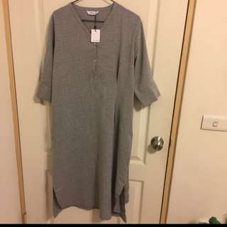 Aroma綁帶小格紋洋裝