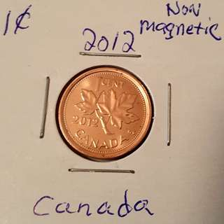2012 Canadian Penny From Mint Roll In 2x2 holder.