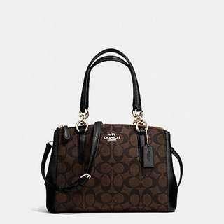 Coach Christie Carryall Satchel with Signature Coated Canvas with leather trim