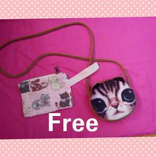 cute Stringbag with free 2 cute cat pouch