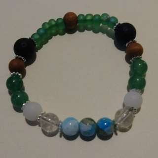 Green Jade/Quartz/Sandalwood Essential Oil Bracelet