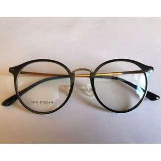 韓國製造中金梨形雕花臂眼鏡(A31)