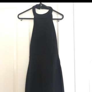 Black Backless Halter Dress