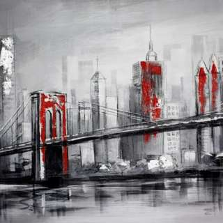 Gray City Handpainted Oil Painting