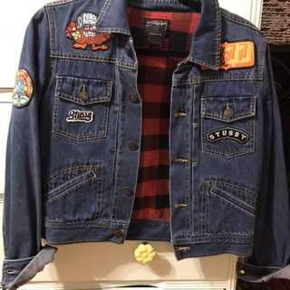 Stussy cropped and patched denim jacket size M
