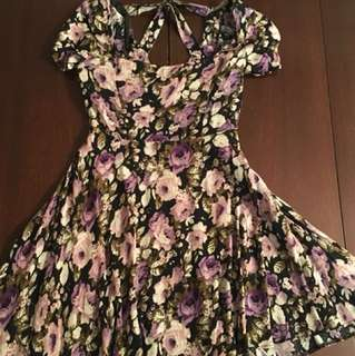 Black Floral Urban Outfitters Mini Dress - Size XS