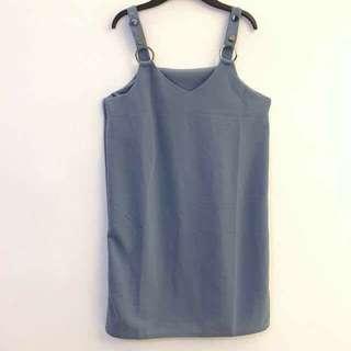 全新 粉藍 吊帶洋裝 吊帶衣