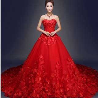 Wedding Collection - Blossom Red Floral Design Long Tail Wedding Dinner Gown