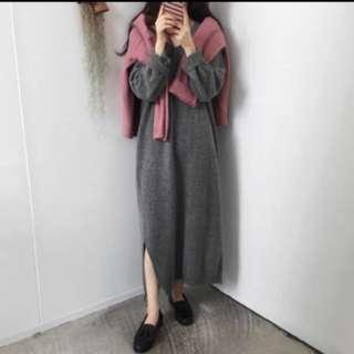 全新灰色針織毛衣連衣裙