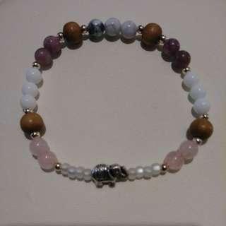 Elephant Rose Quartz/Sandalwood/Marble Howlite Bracelet