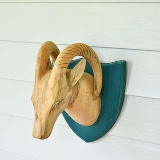 Large Wall Mounted Teal and Timber Faux Taxidermy Ram Bust