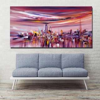 Abstract Cityscape Handpainted Oil Painting
