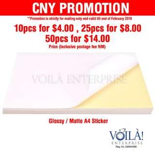 CNY Promotion - A4 sticker glossy or matte